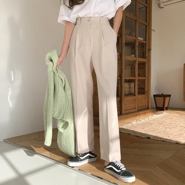 Classic Pin Tuck Wide Slacks 長褲