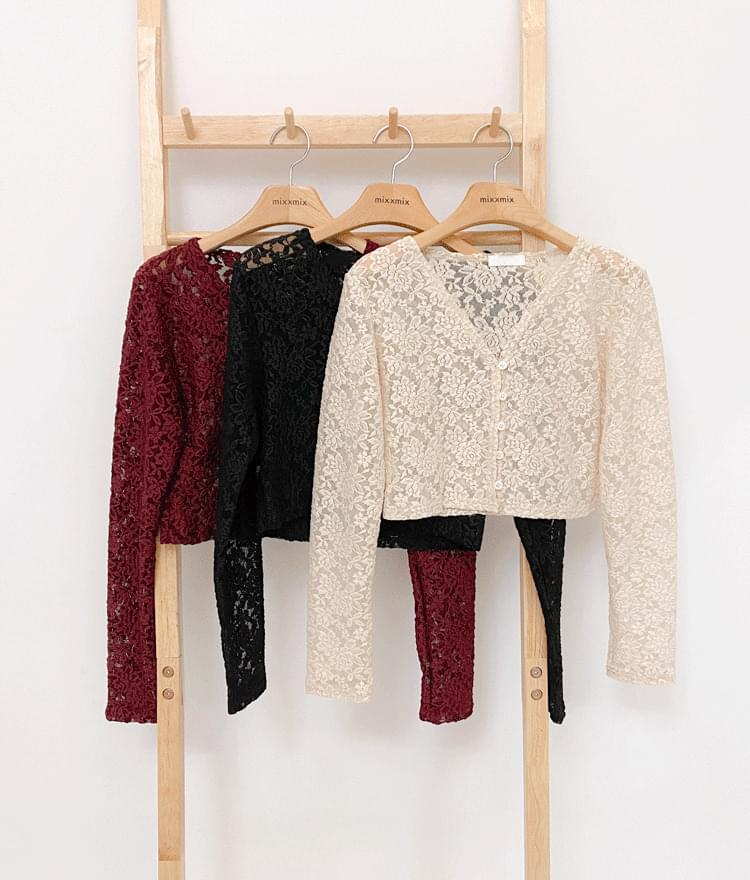 韓國空運 - Floral Lace Crop Cardigan 針織外套