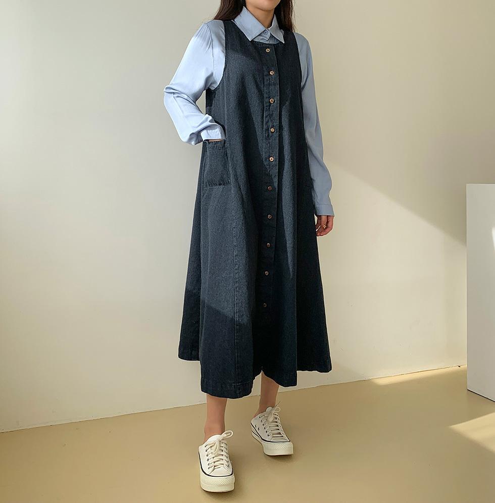 Mini button denim Dress