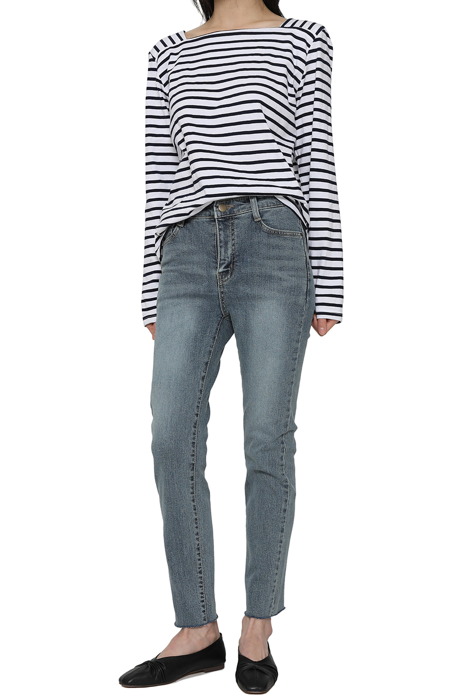 Sheer striped square-neck top