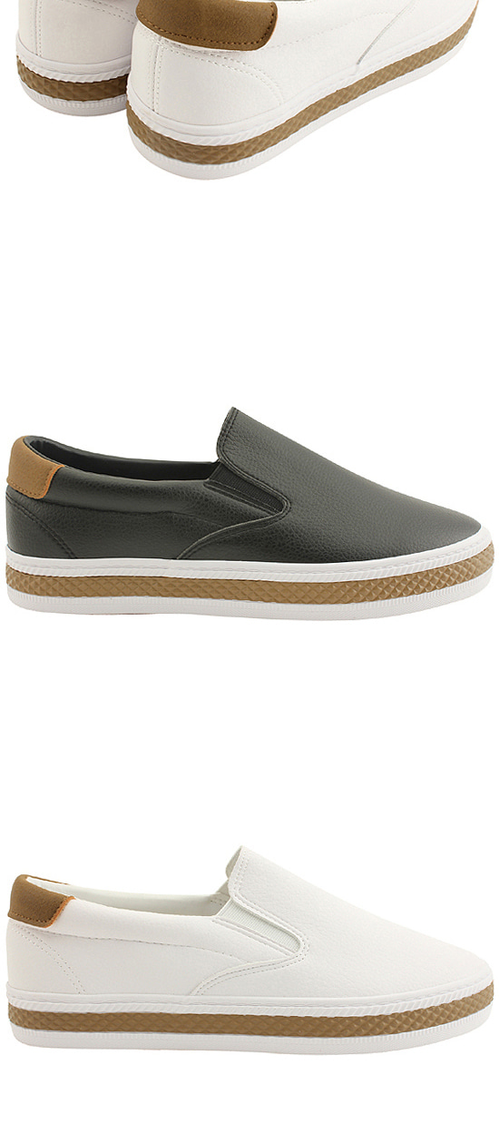 Simple Two Tone Slip-on Flat Shoes Black