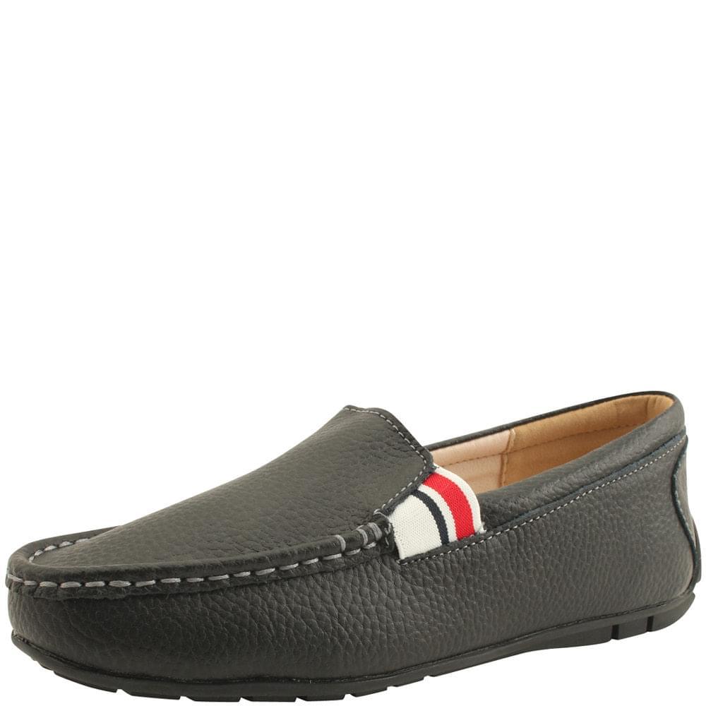 韓國空運 - Cowhide Casual Banding Comfort Loafers Black 樂福鞋