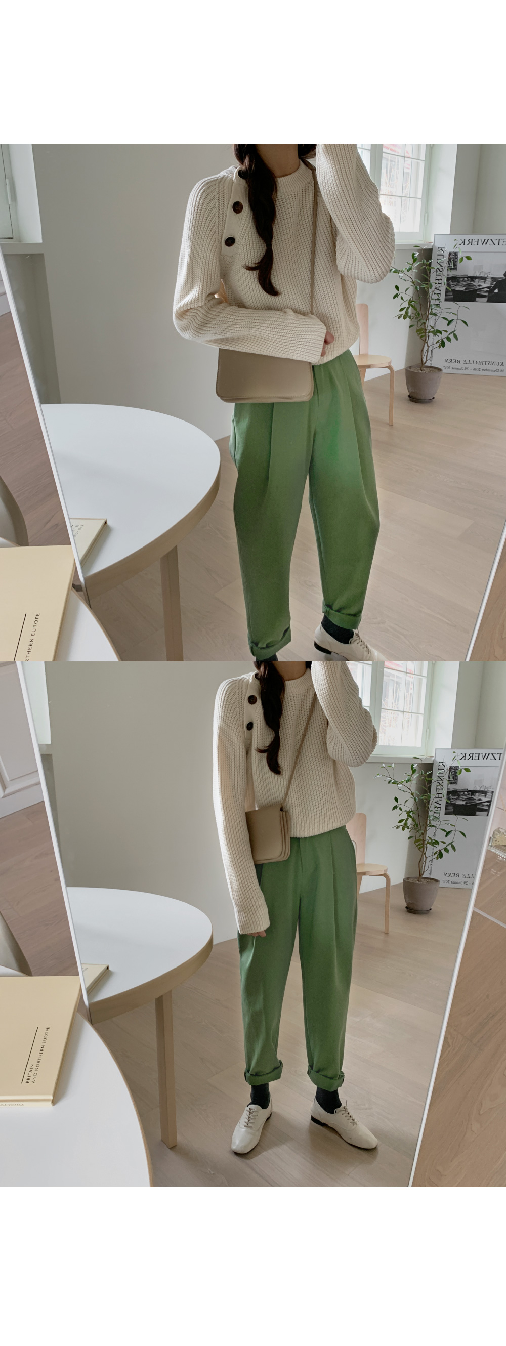 Rack One-button pants / Green