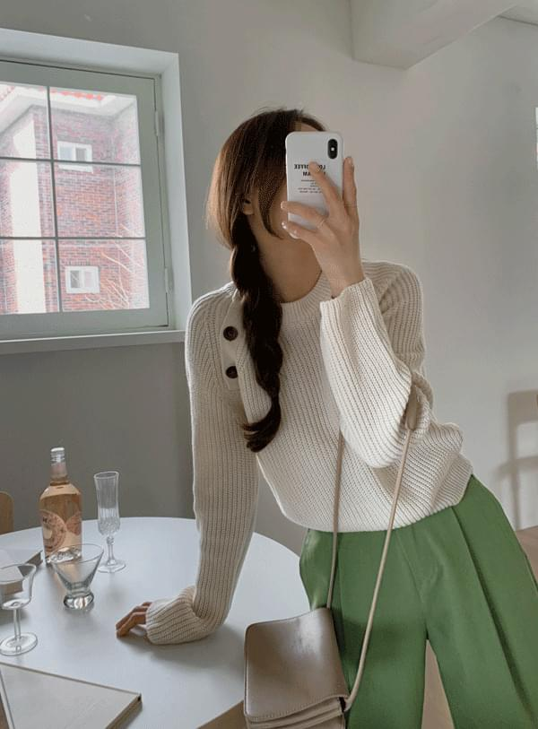 May button knit / ivory