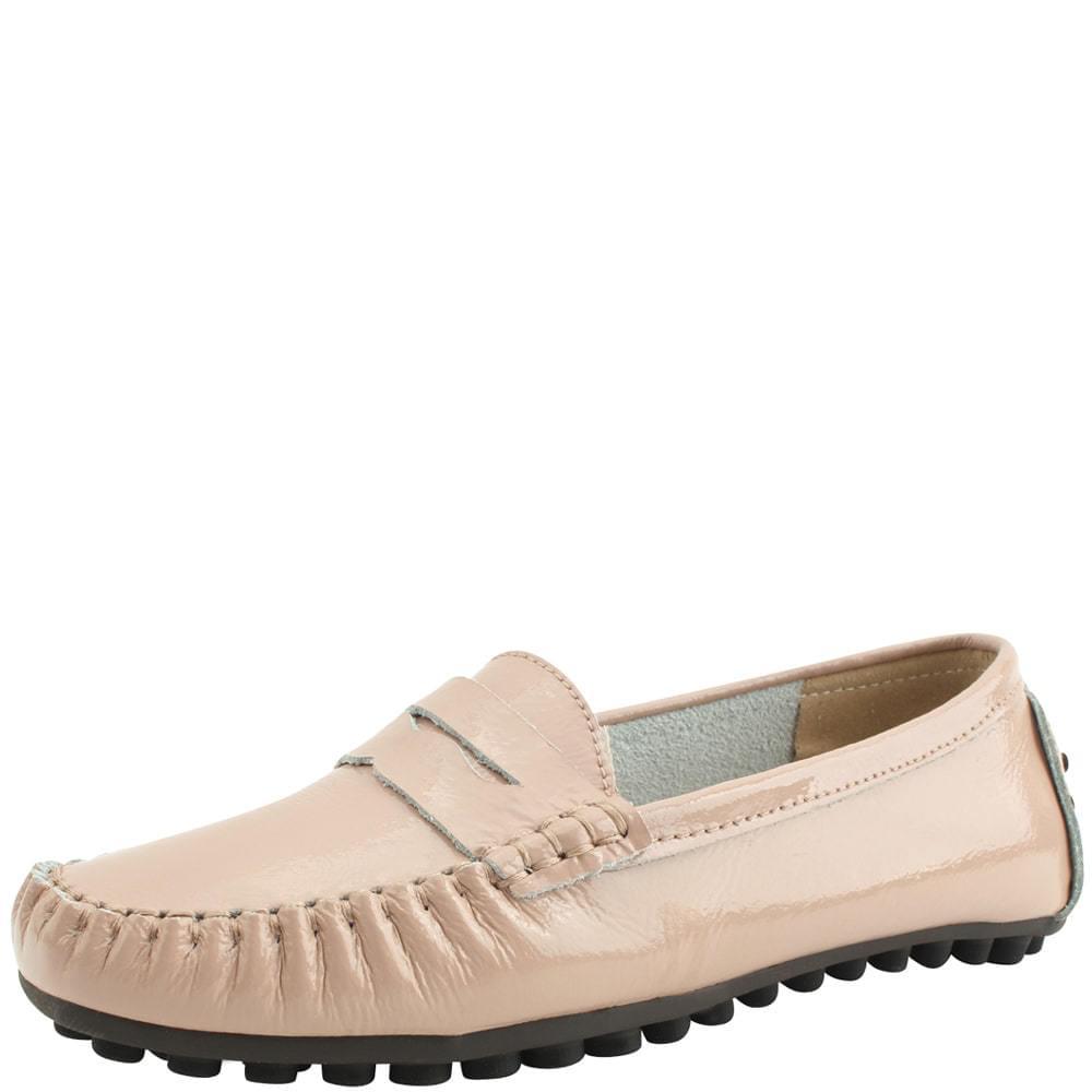 Cowhide Enamel Driving Shoes Pink