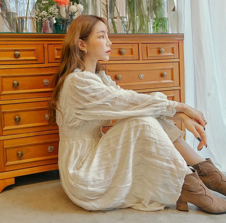 Lace Trim Shirred Waist Dress