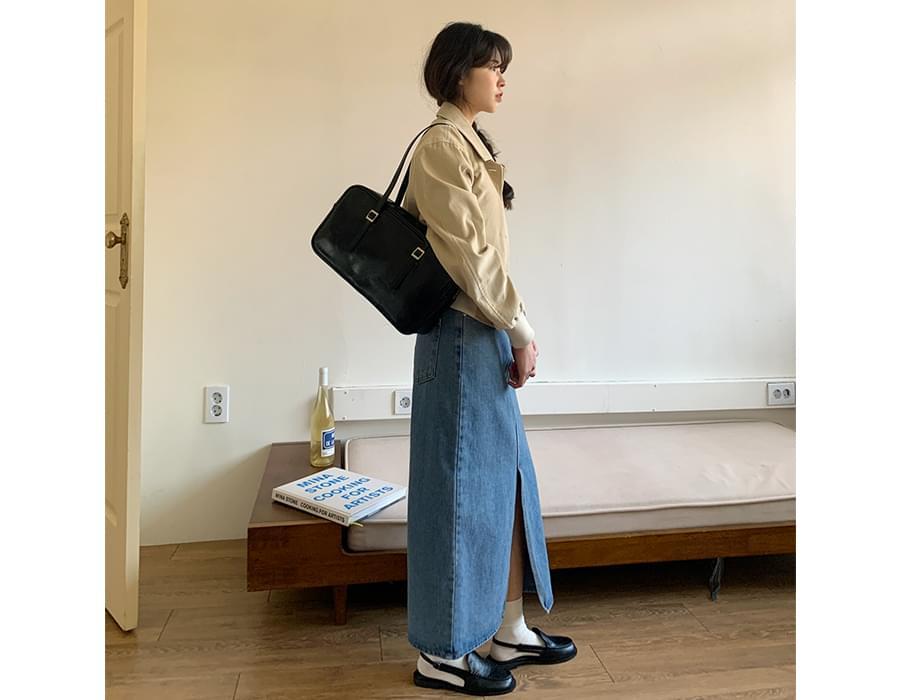 Ivy Slit Long Denim Skirt