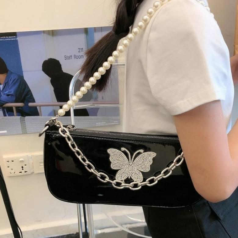 Pearl Chain Butterfly Mini Square Shoulder Bag