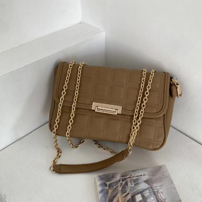 Square pattern gold chain cross shoulder bag