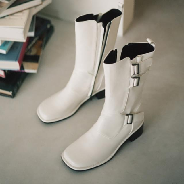 Frode square-toe buckle boots