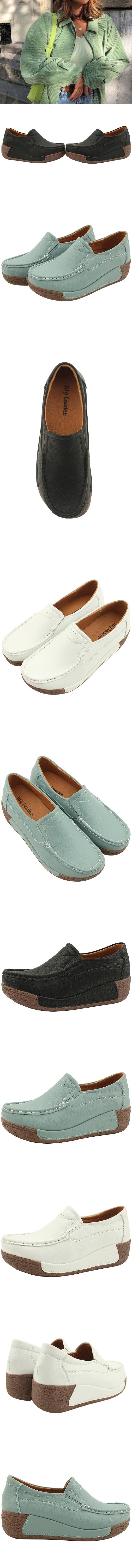 Cowhide leather heel loafers 5cm black