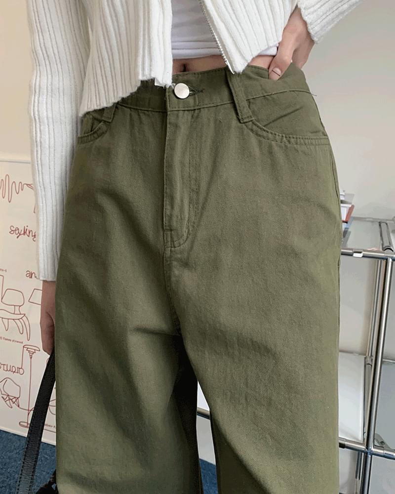 Quad khaki cotton long wide trousers