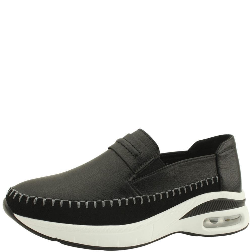 Cowhide Cushioning Slip-on Sneakers Black
