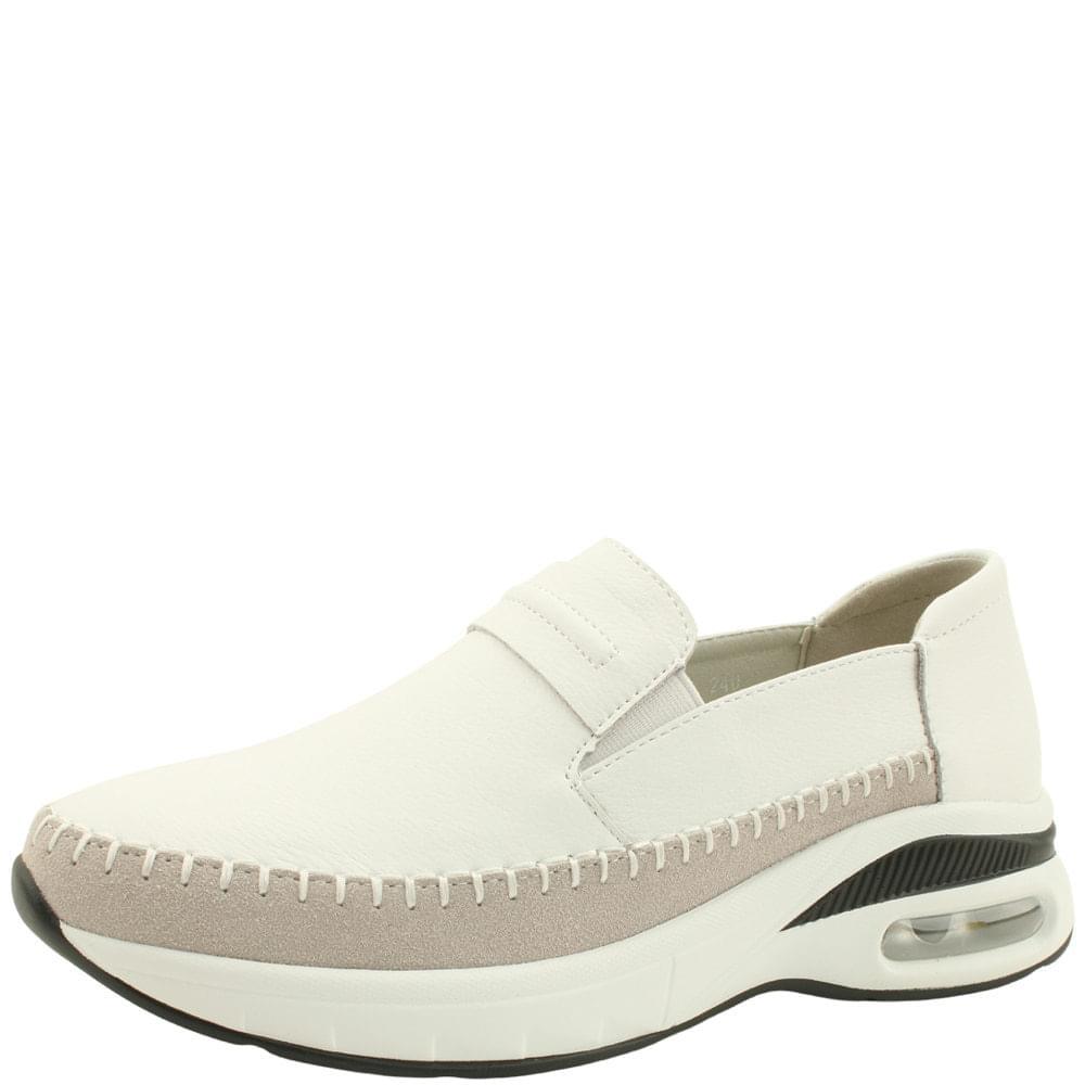 Cowhide Cushioning Slip-on Sneakers White