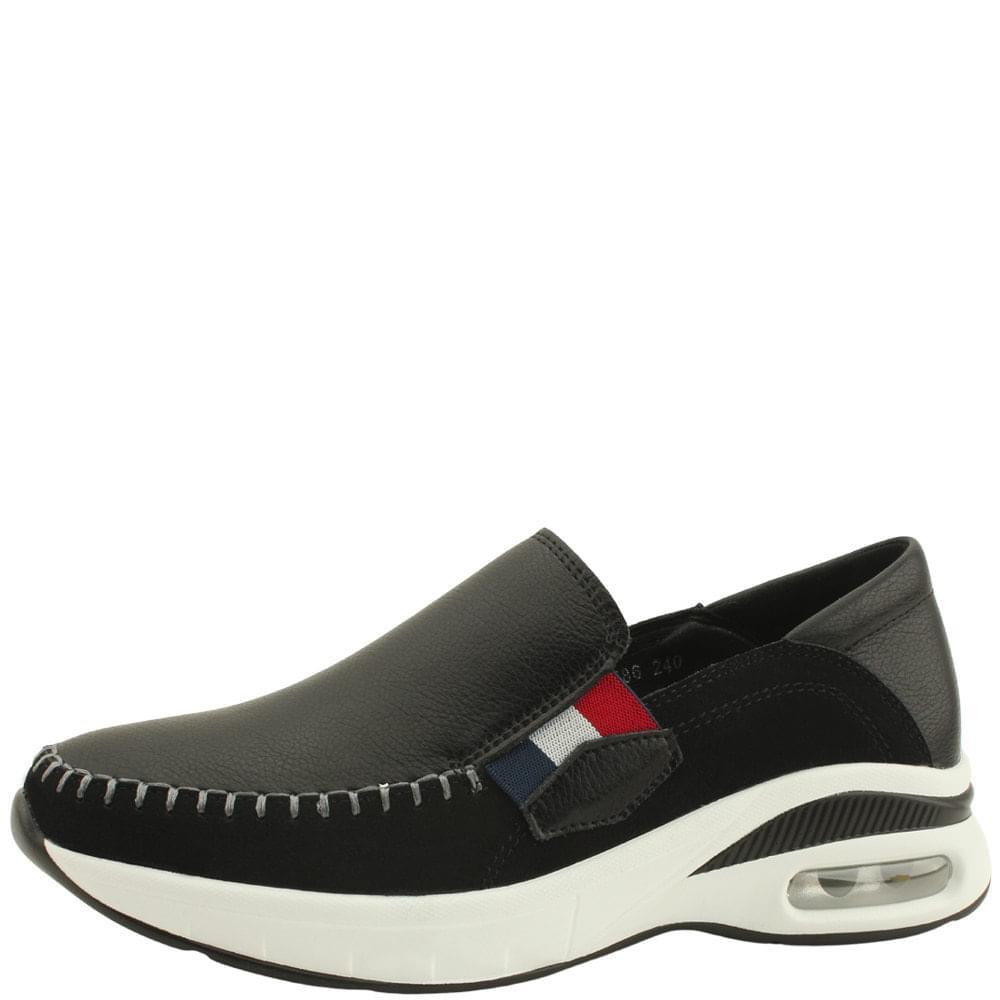 Cowhide Banding Air Slip-on Running Shoes Black