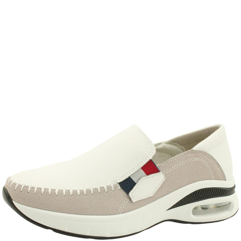 Cowhide Banding Air Slip-on Running Shoes White