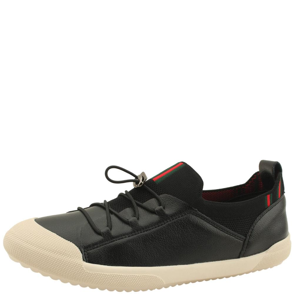 Cowhide Knitwear Slim Strap Sneakers Black