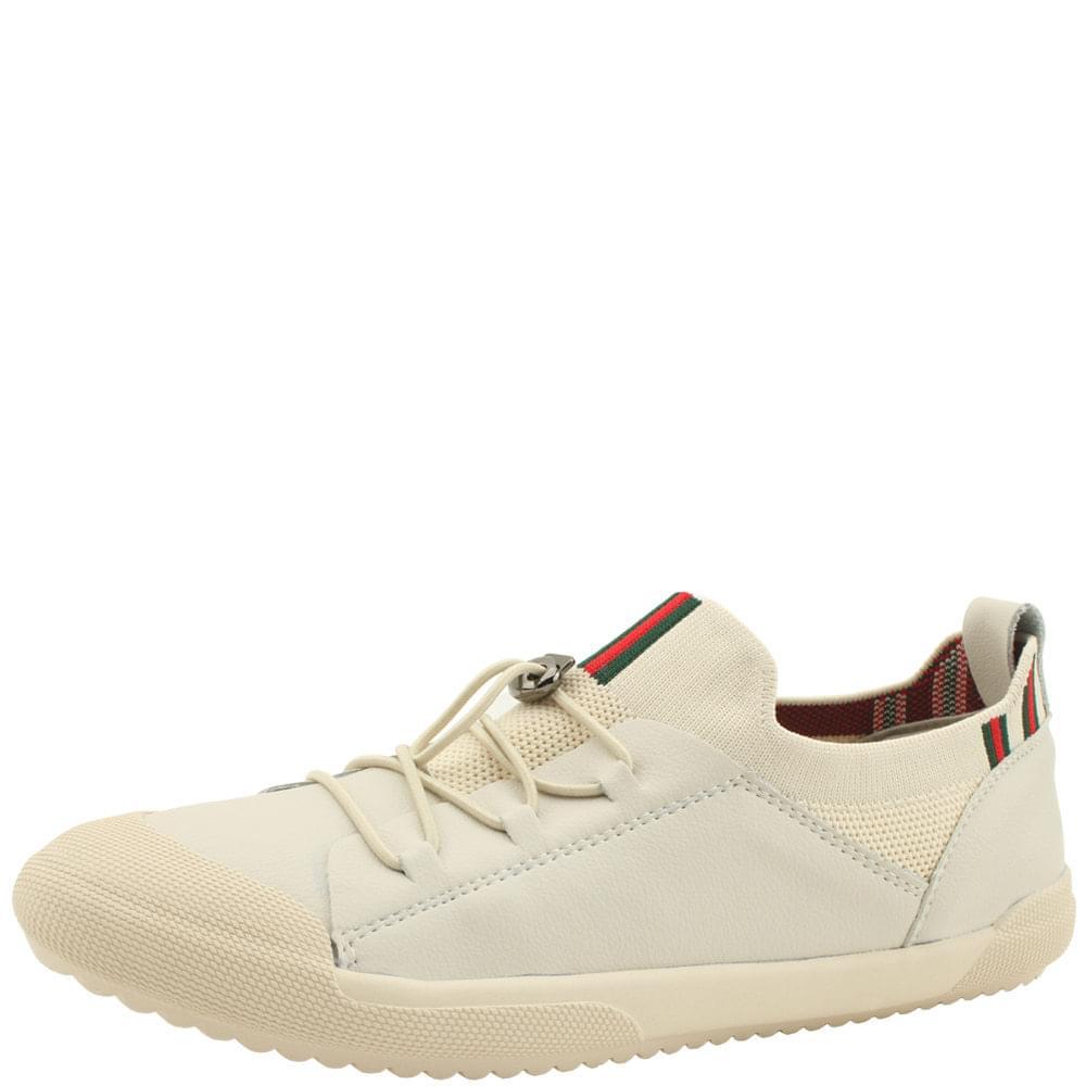 Beige Cowhide Knitwear Slim Strap Sneakers