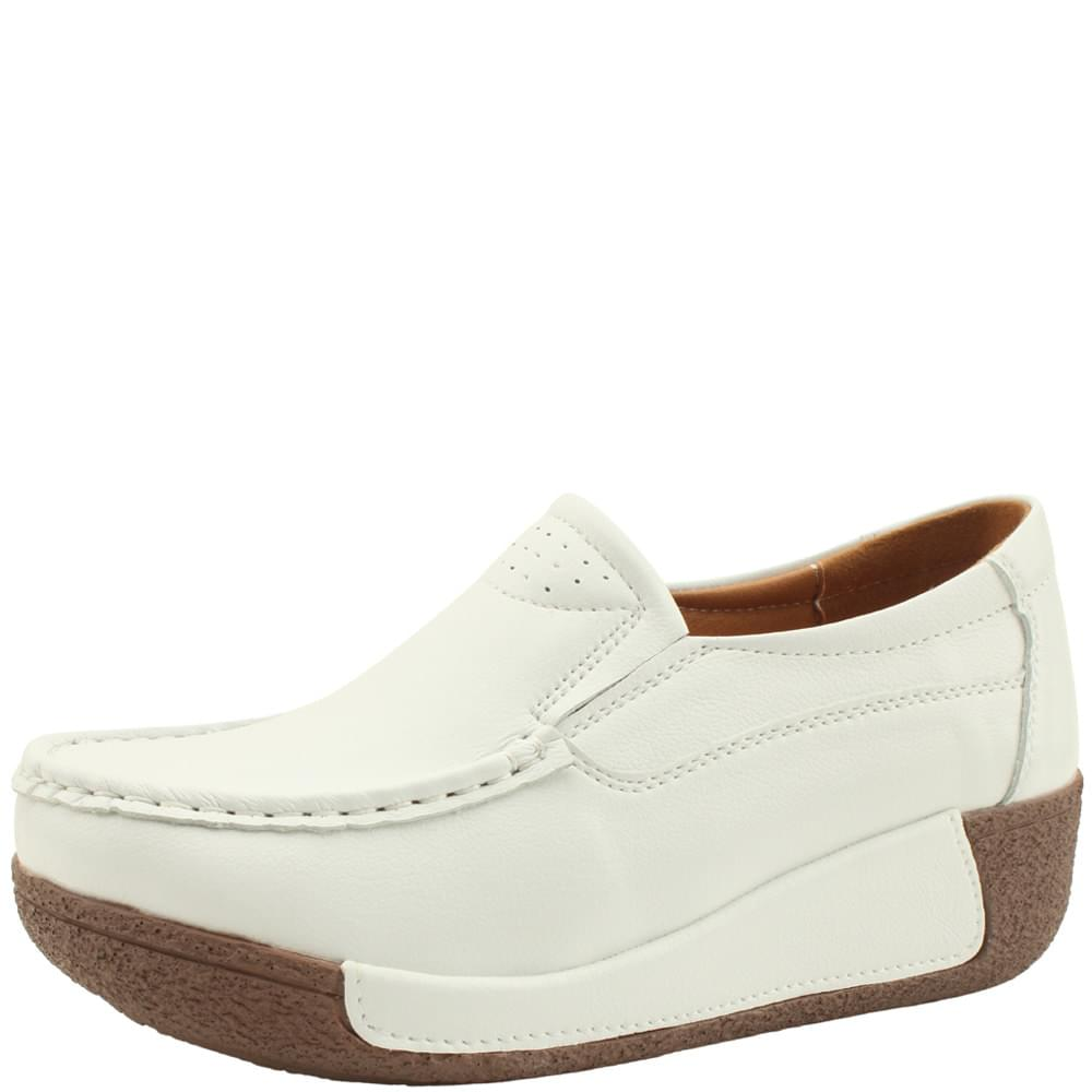 Cowhide leather heel loafers 5cm white