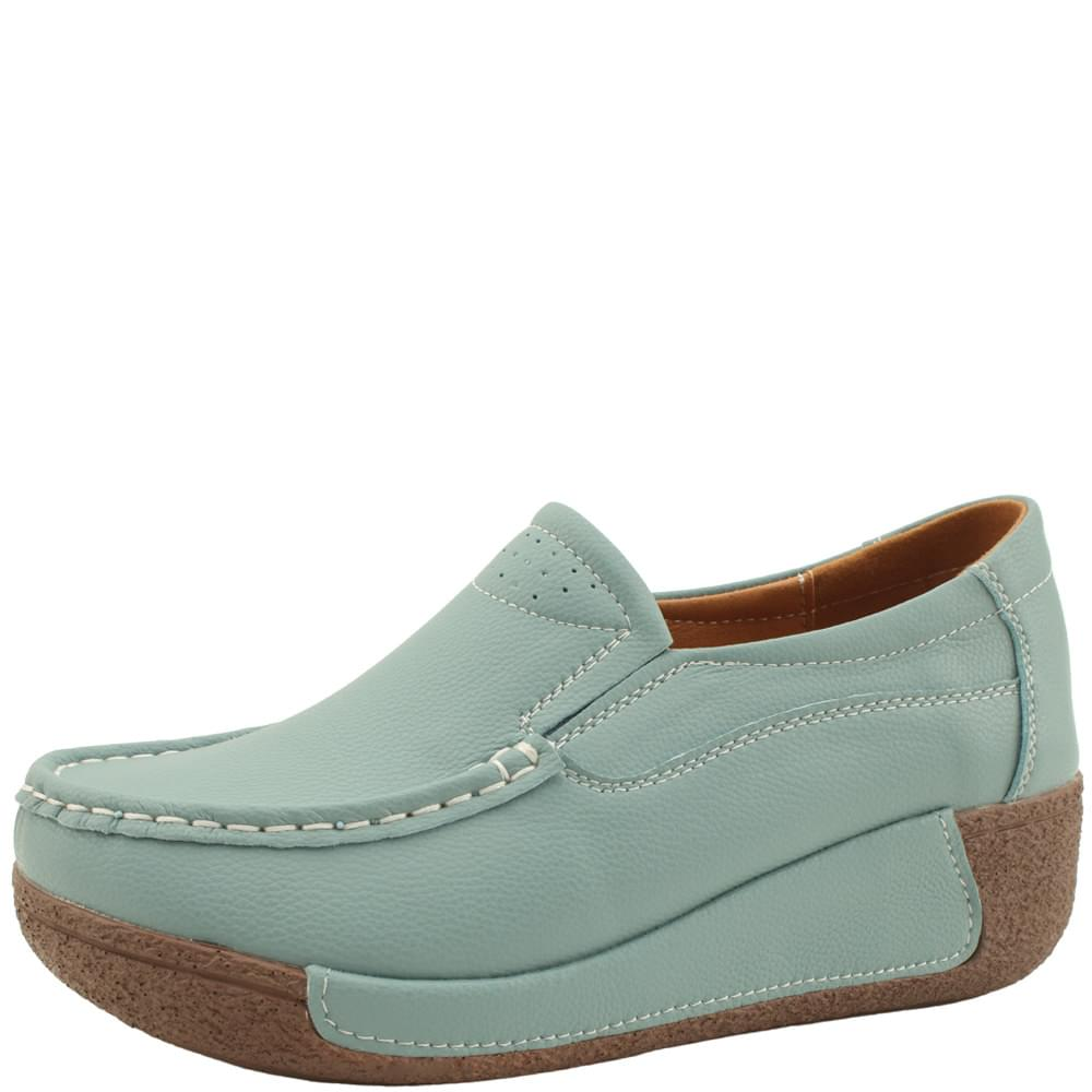 Cowhide leather heel height loafers 5cm blue