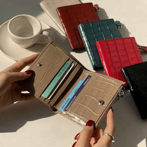 Leather coin card bi-fold wallet 6color