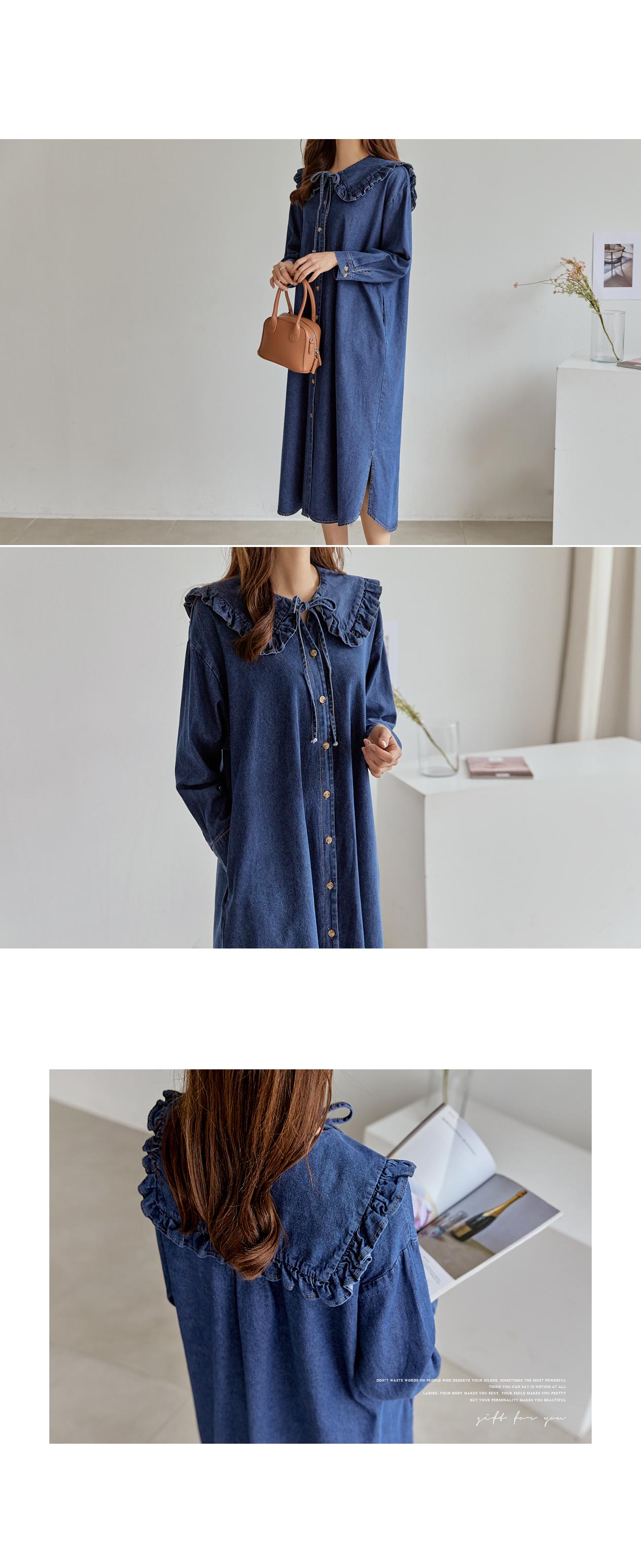 Frill Collar Denim Dress #37828
