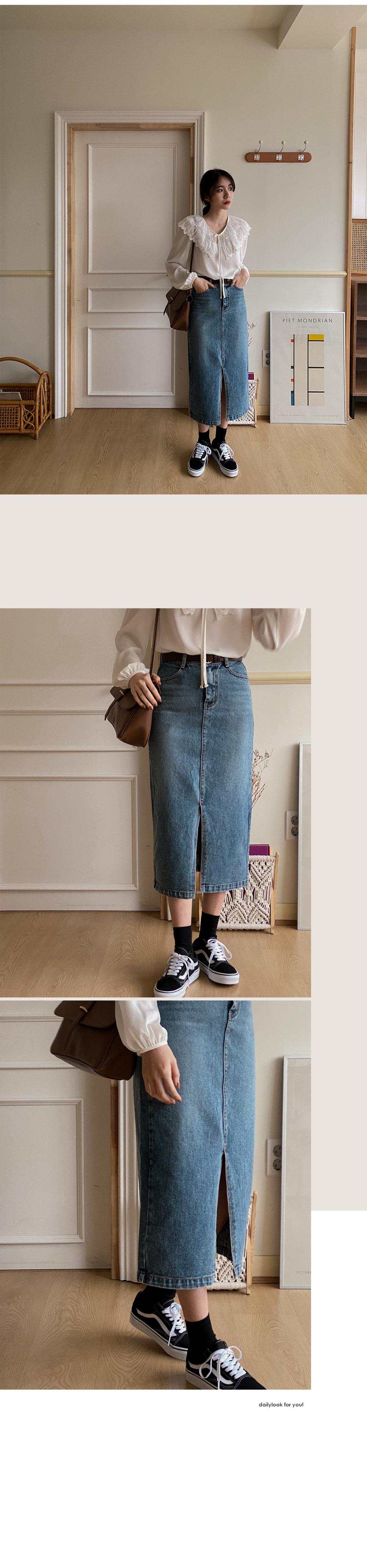 Fund Slit Denim Skirt-2color