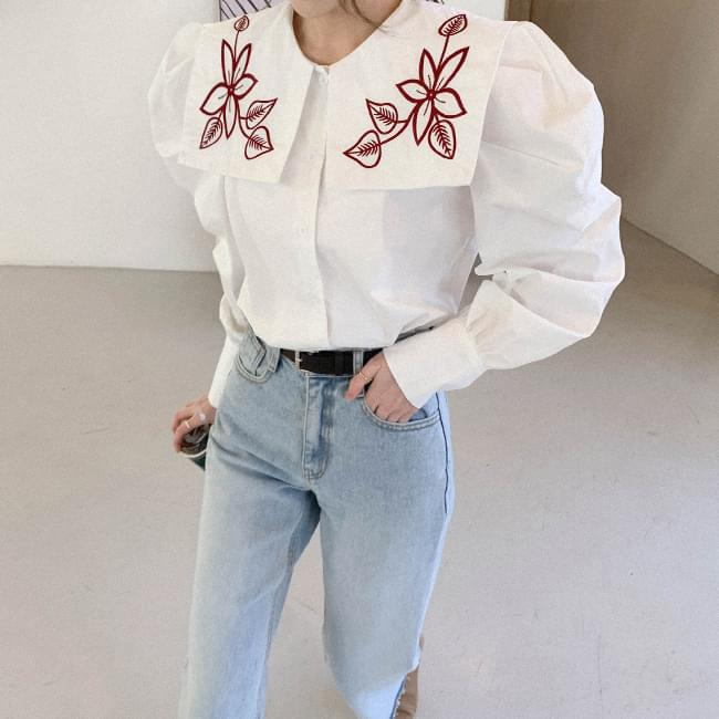 Charming Big Color Embroidery Blouse