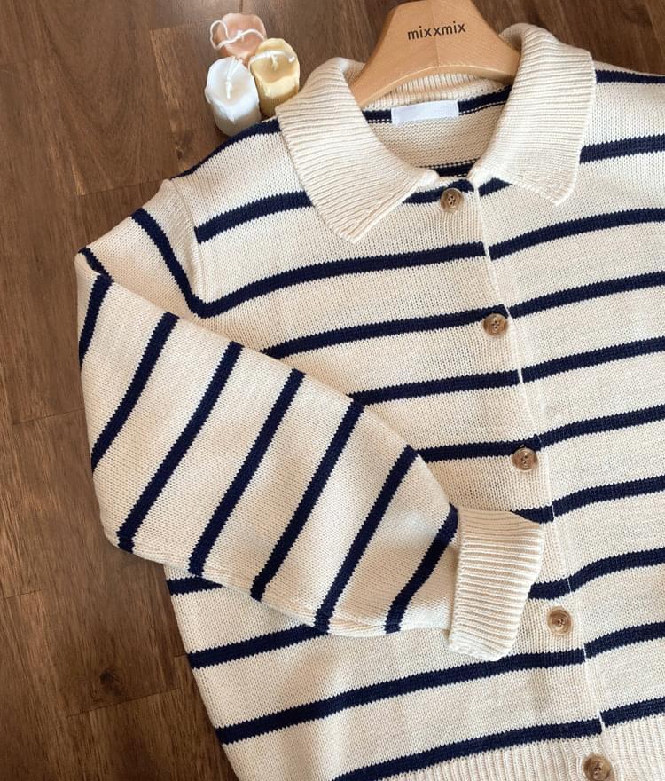 ESSAYCollared Stripe Knit Cardigan