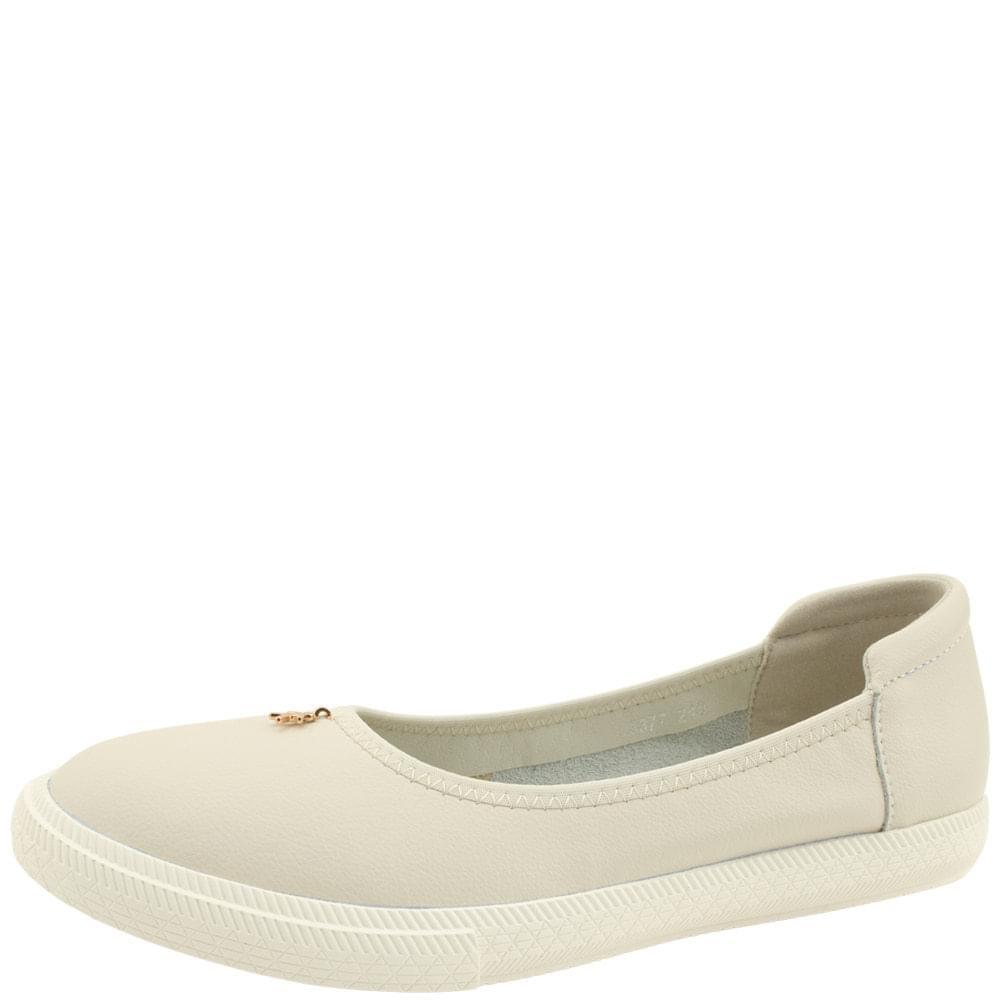 Cowhide Banding Pendant Flat Shoes Gray