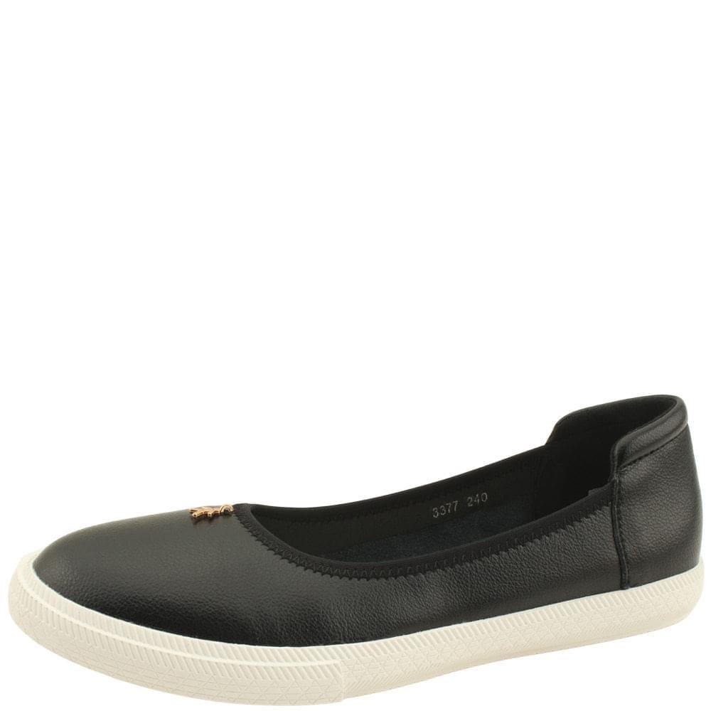 Cowhide Banding Pendant Flat Shoes Black