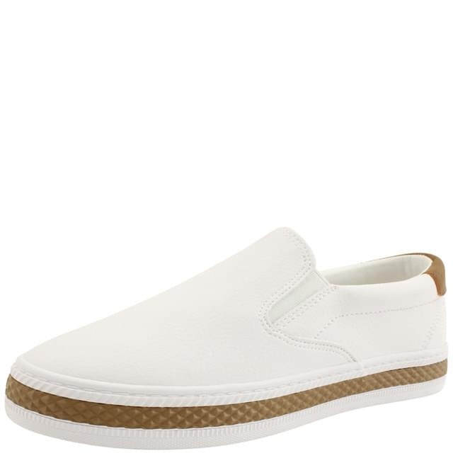 Simple Two Tone Slip-on Flat Shoes White