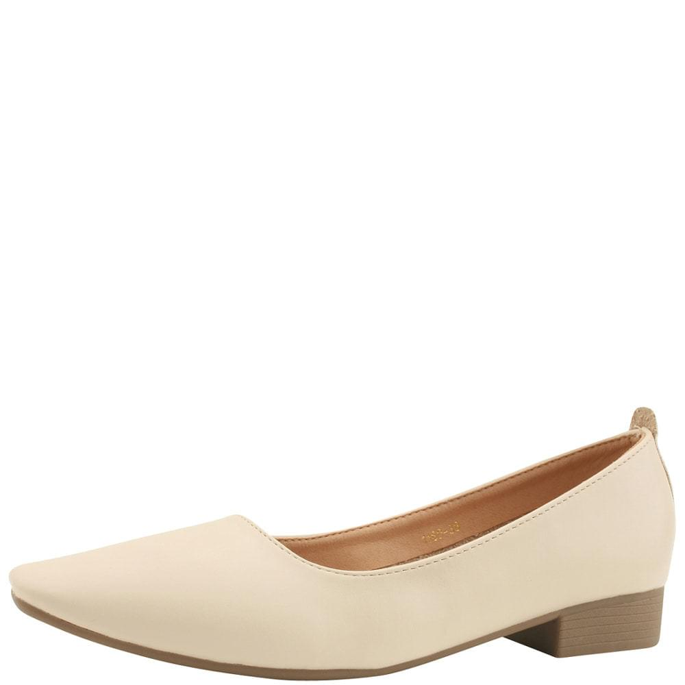 Square nose flat loafers low heel beige
