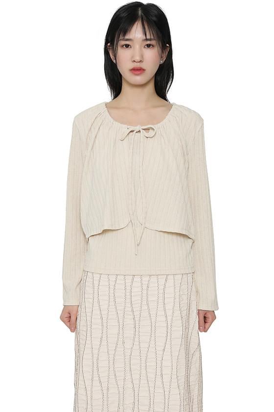 Fold set cardigan top