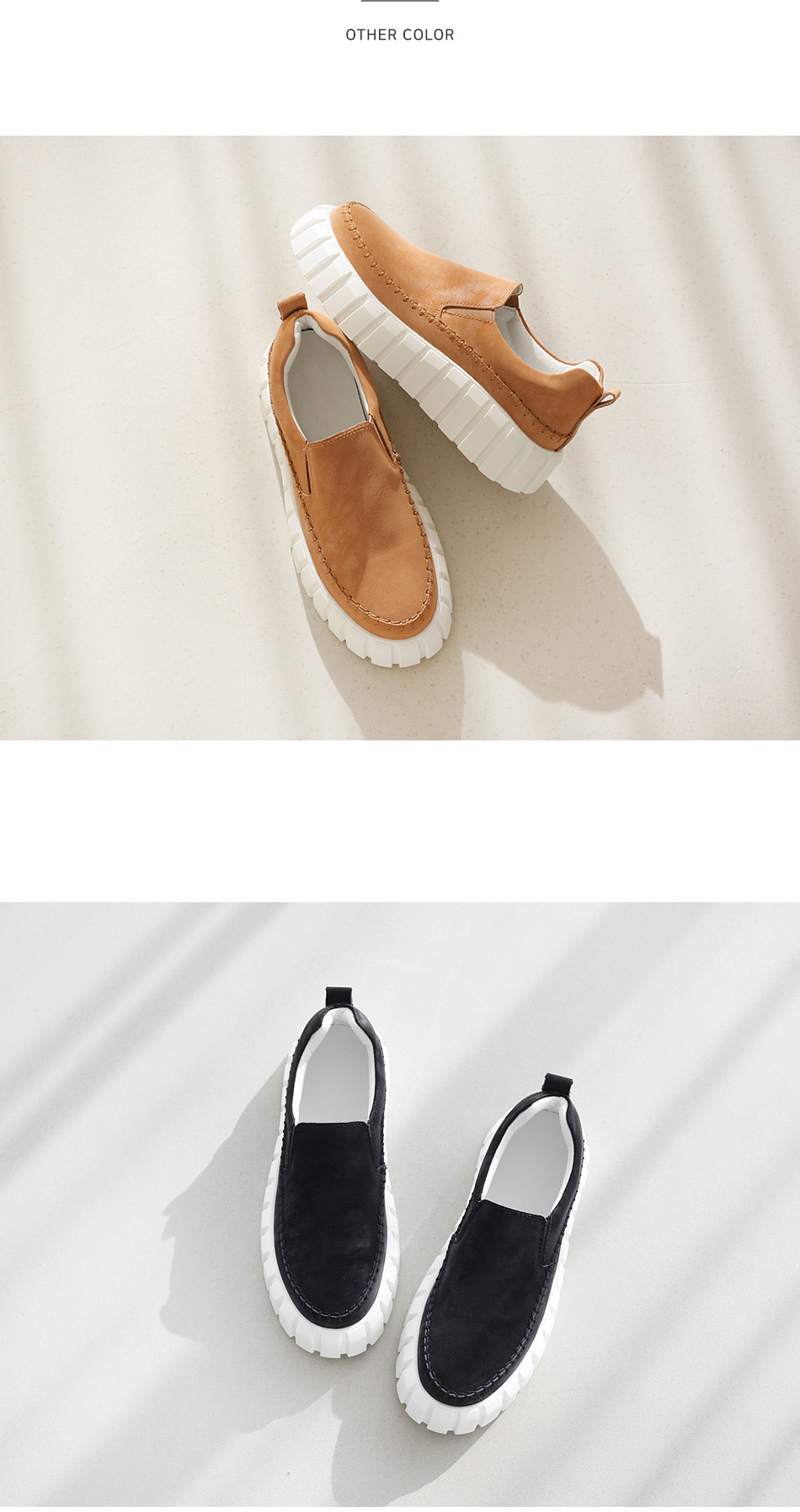 Shravel leather heel slip-on 4cm