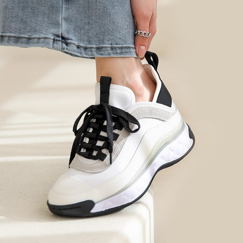 Shaelle leather high-height sneakers 6cm