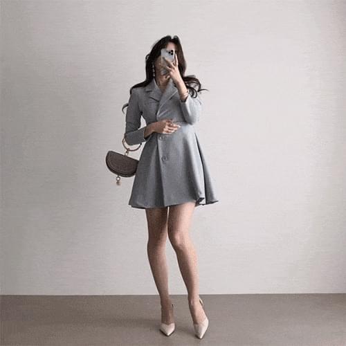 Kanadaran Spandex collar belt mini jacket Dress 4color