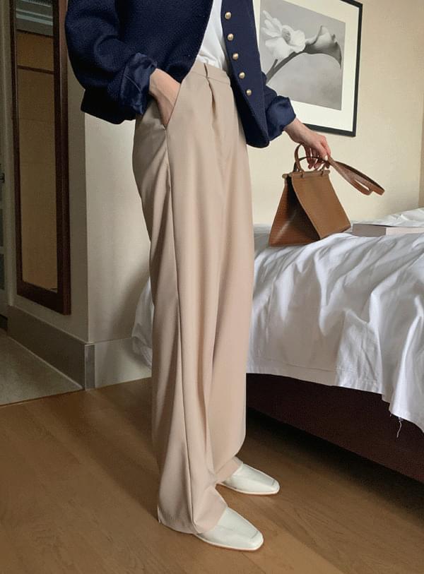 Wig pintuck pants / beige