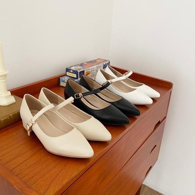 Stiletto Buckle Mary Jane Flat Shoes 3cm