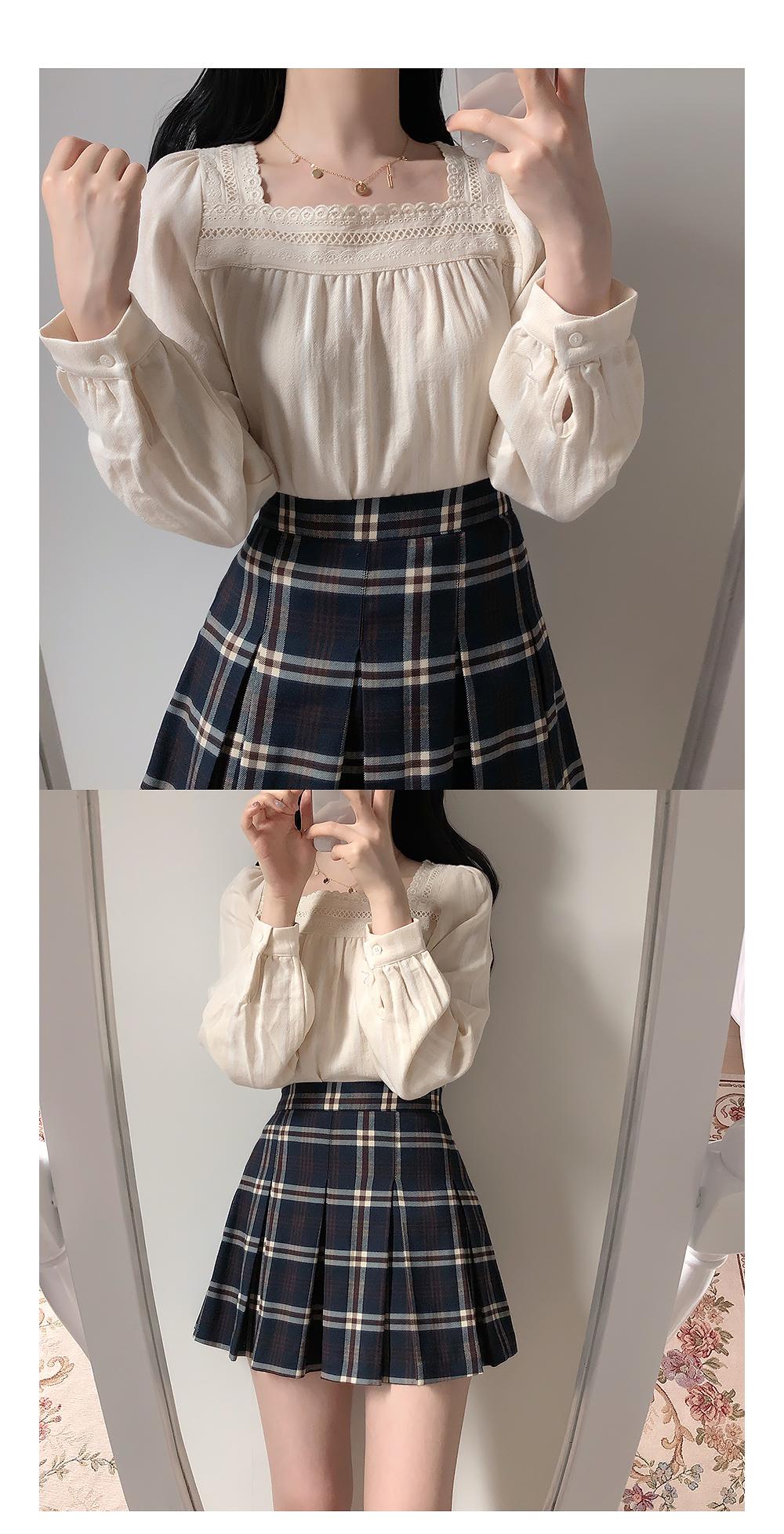 Autumn wind check mini skirt