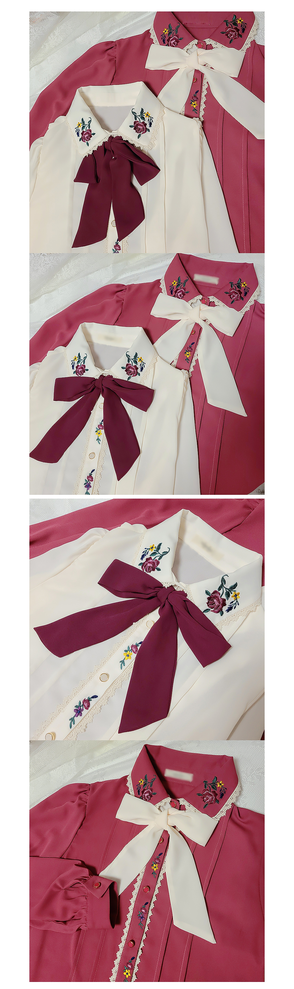 Evening Floral Embroidery Ribbon Blouse 2color
