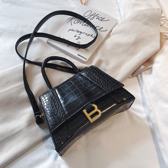 Trendy Simple Crocodile Pattern Cross Shoulder Bag