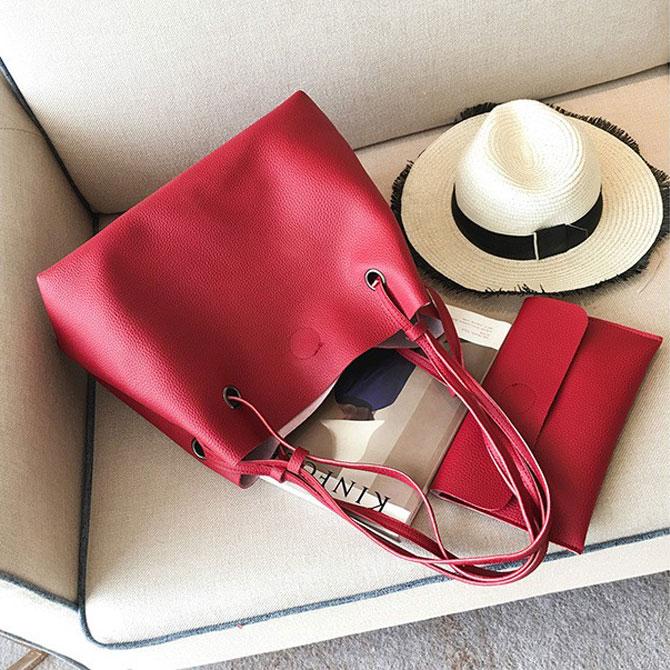 Rev Plain Ruffle Pouch Set Shoulder Bag