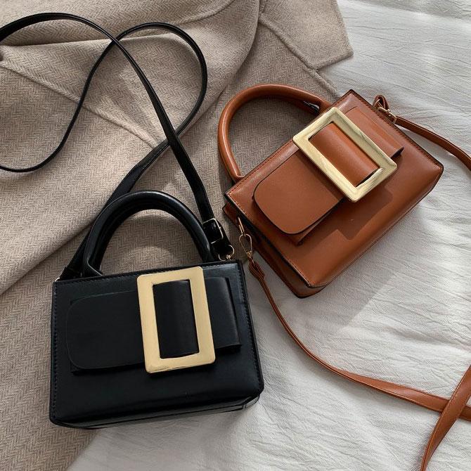 Square gold buckle fashion cross shoulder bag