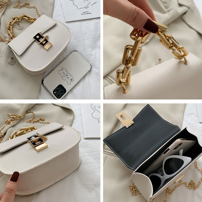 Round semicircle gold chain crossbody bag