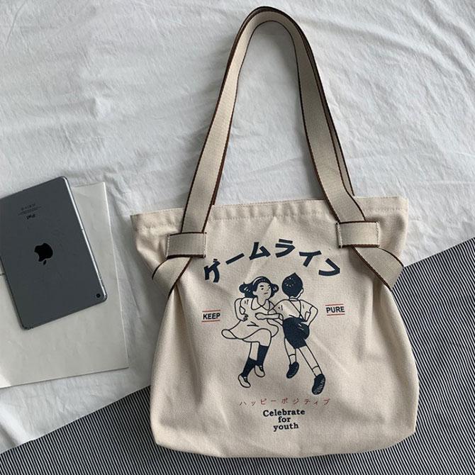 Anime retro canvas travel cloth bag