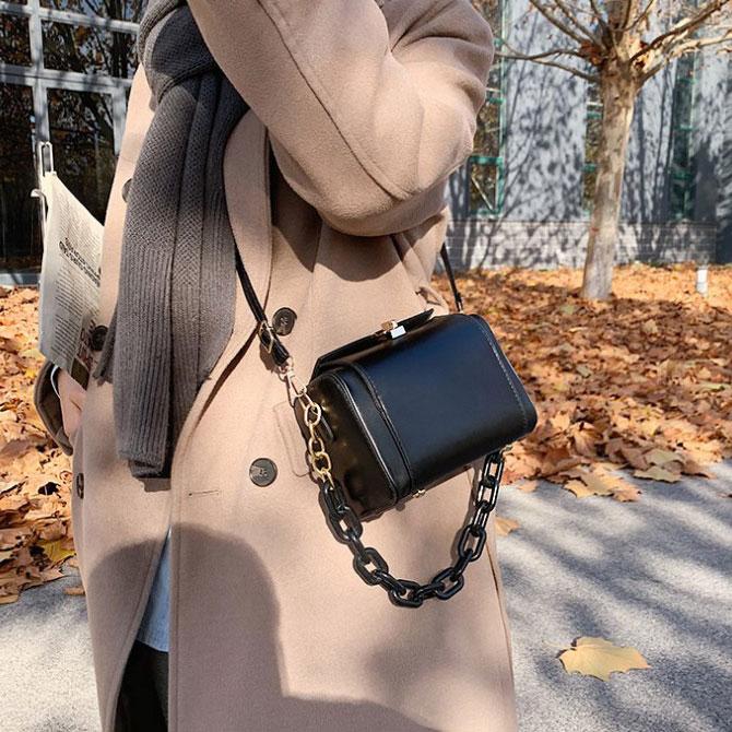 Trendy mini square chain crossbody bag