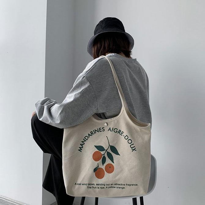 Casual Canvas Button Fruit Shoulder Bag