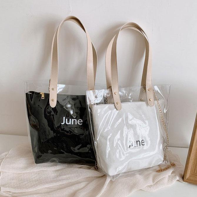 Canvas Transparent Beach Fashion Color Jelly Bag