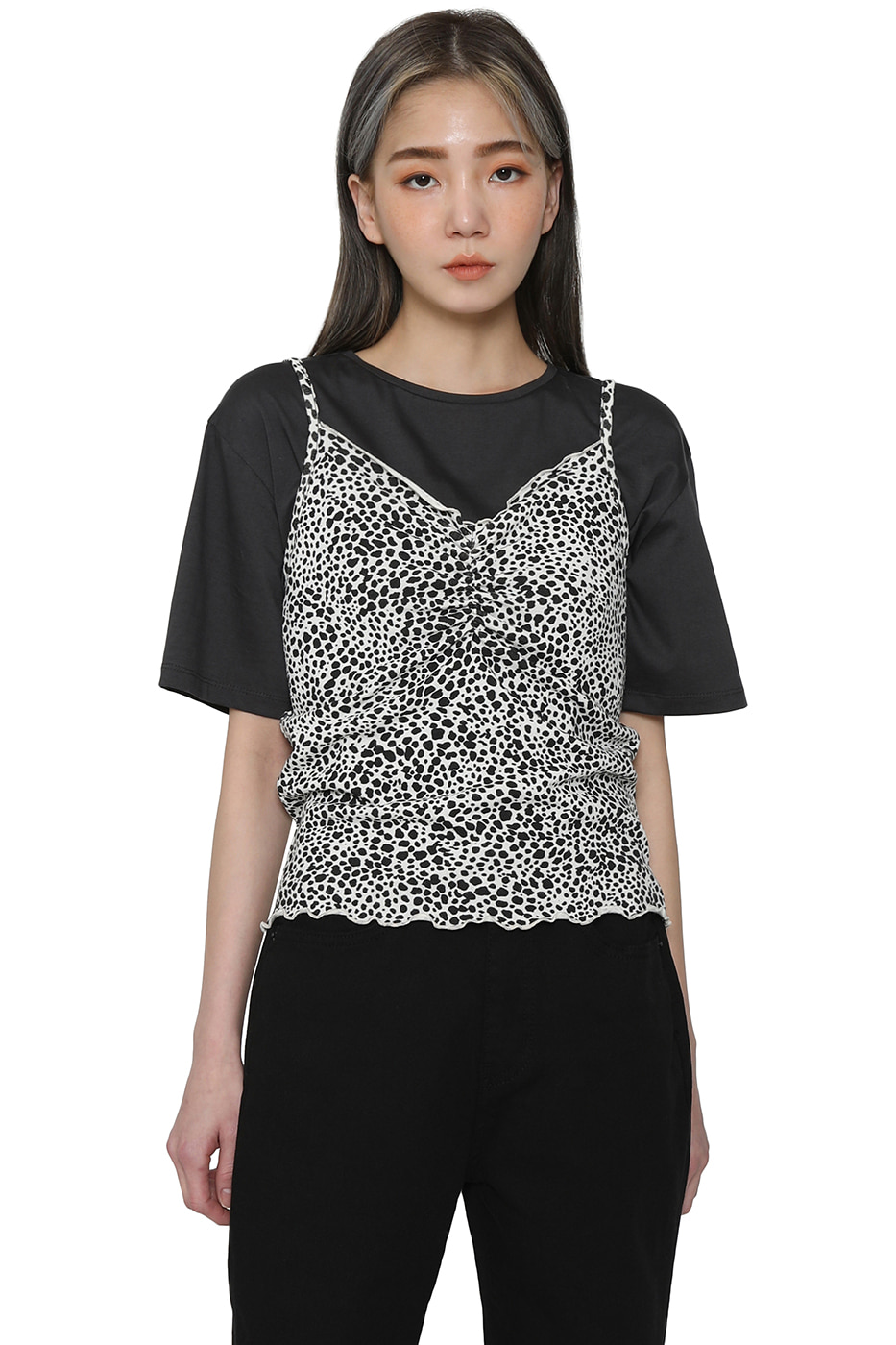 Pia leopard shirred camisole